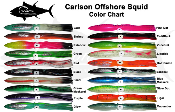 Carlson Offshore Squid Color chart (CLICK FOR A LARGER VIEW)
